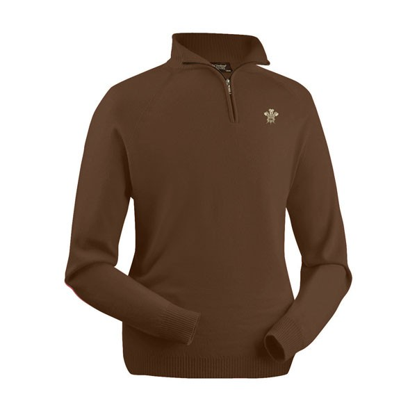 Surrey CCC 1845 Merino Wool Brown Zip Neck Sweater