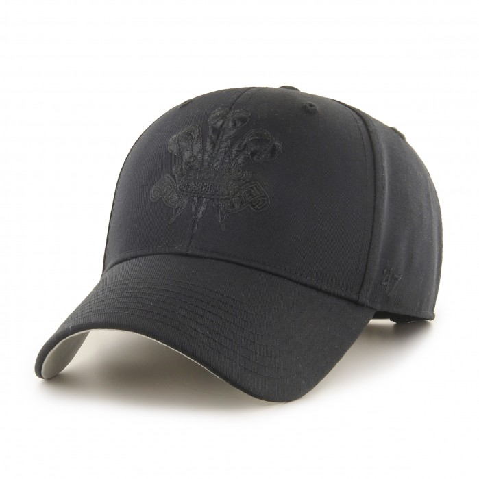 Surrey 3 Feathers Black on Black Cap